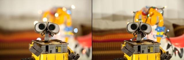 Слева f/2.8, а справа f/8.0