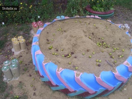 песочница из колеса